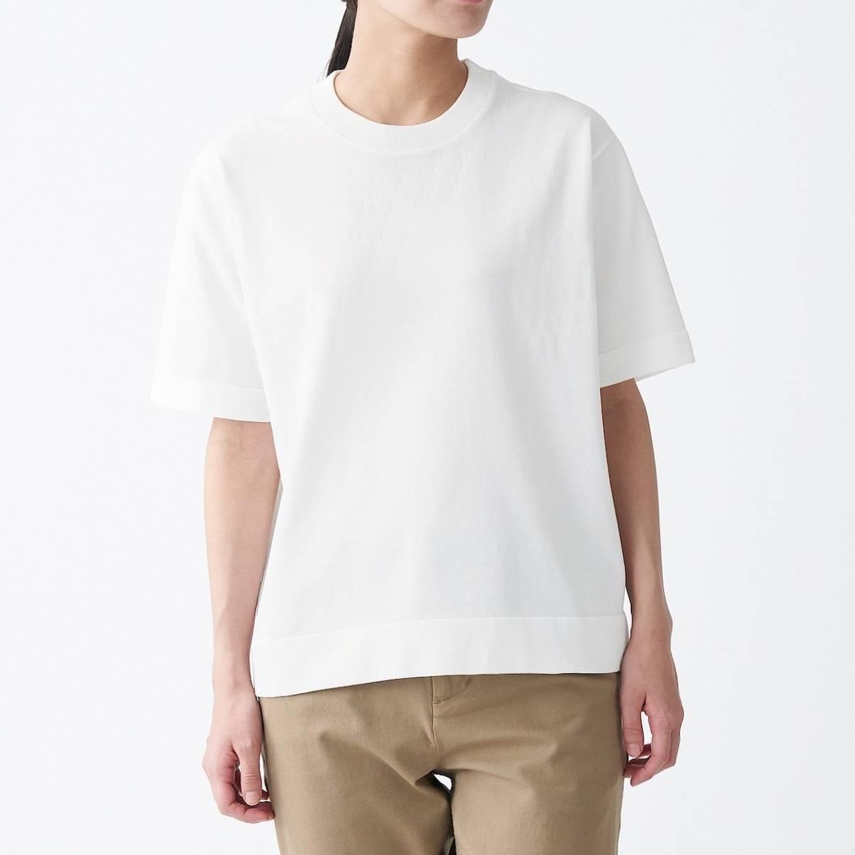 無印良品 UVカット強撚半袖ニットTシャツ