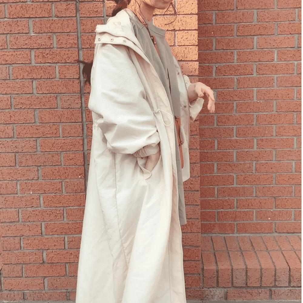 GUロングコートを使った梅雨におすすめ雨の日コーデ